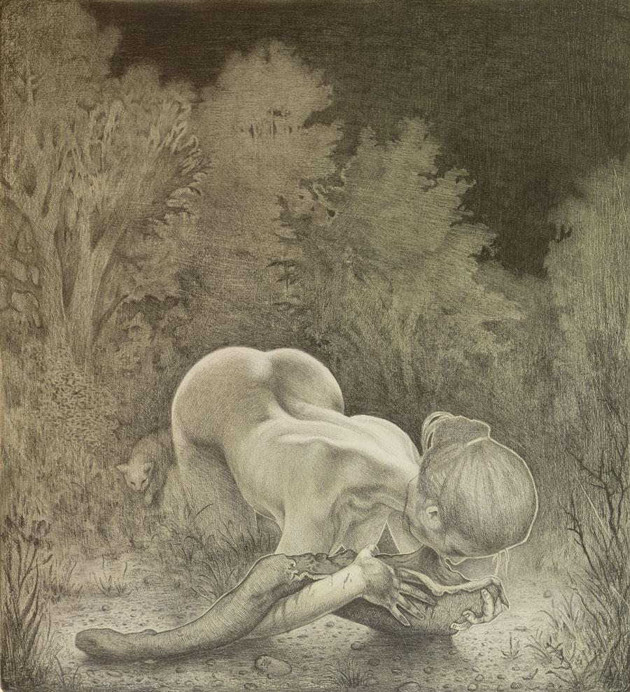 """""""Aas"""", Graphit und Öl auf Holz, 40 cm x 36,5 cm, 2016"""