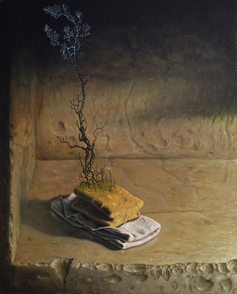 """""""Alter-Schwamm"""", Öl auf Holz, 40 cm x 50 cm, 2016"""