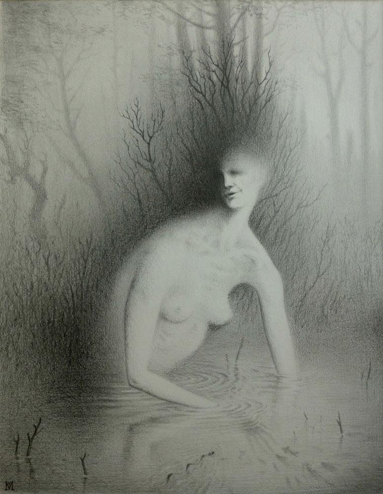 """""""Die Badene"""" - Bleistift auf Bütten, 47 cm x 37 cm, 2015"""