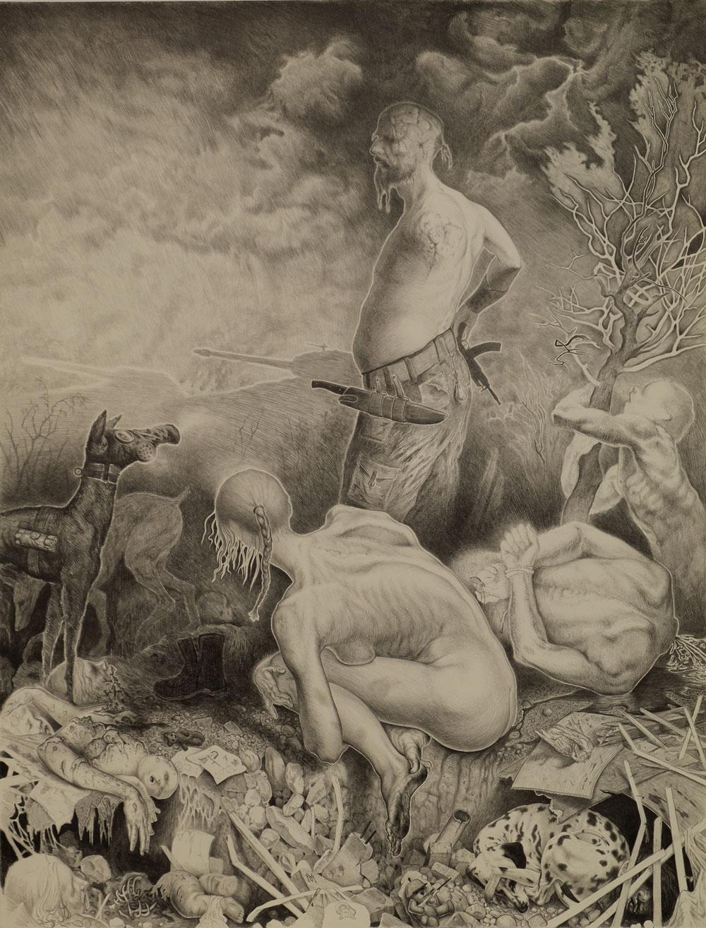 """Front"", Bleistift auf Büttenpapier, 72x56, 2016"