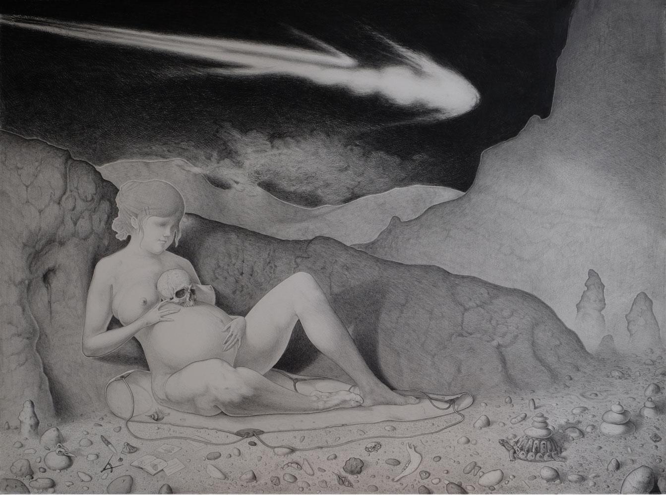 """Iridium"" - Bleistift auf Büttenpapier, 77 cm x 58 cm, 2016"