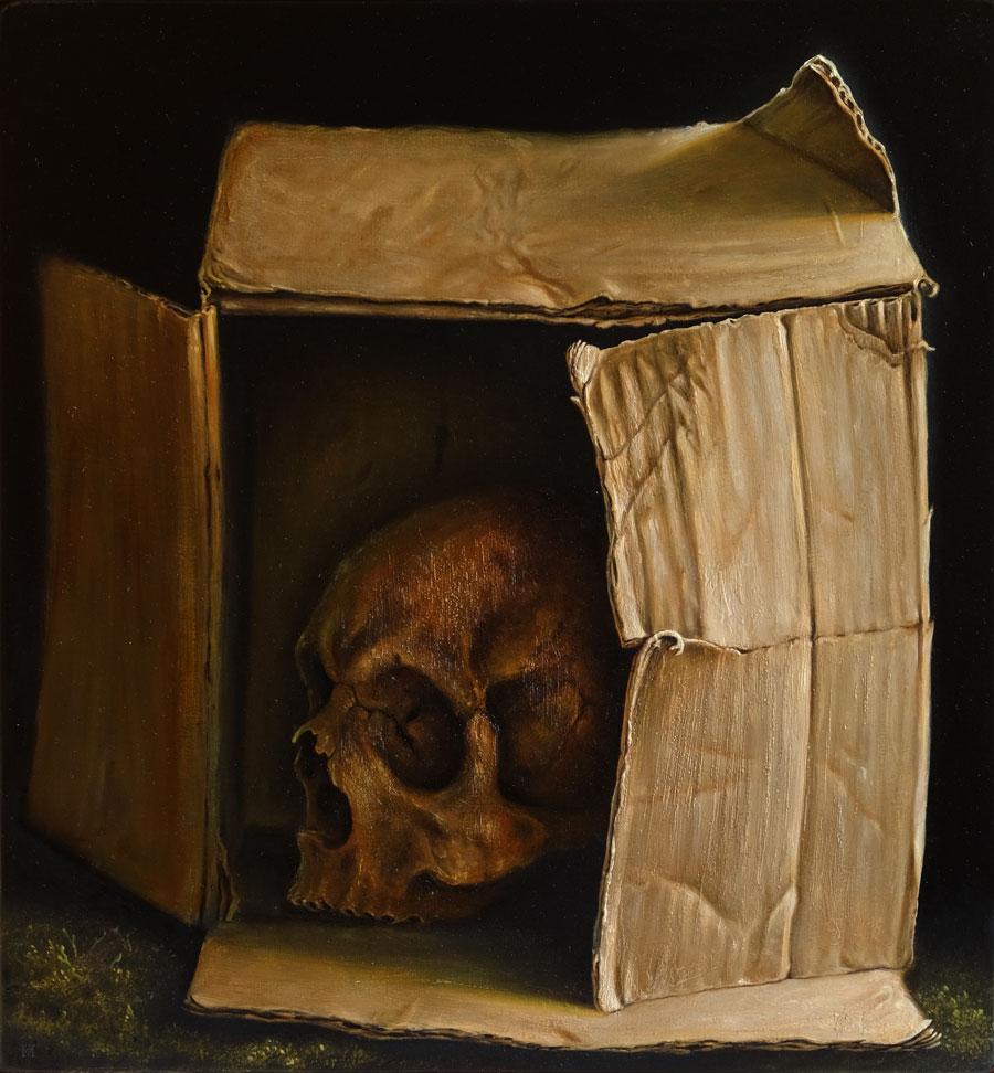 """""""Karton"""", Öl auf Holz, 40 cm x 43 cm, 2015"""