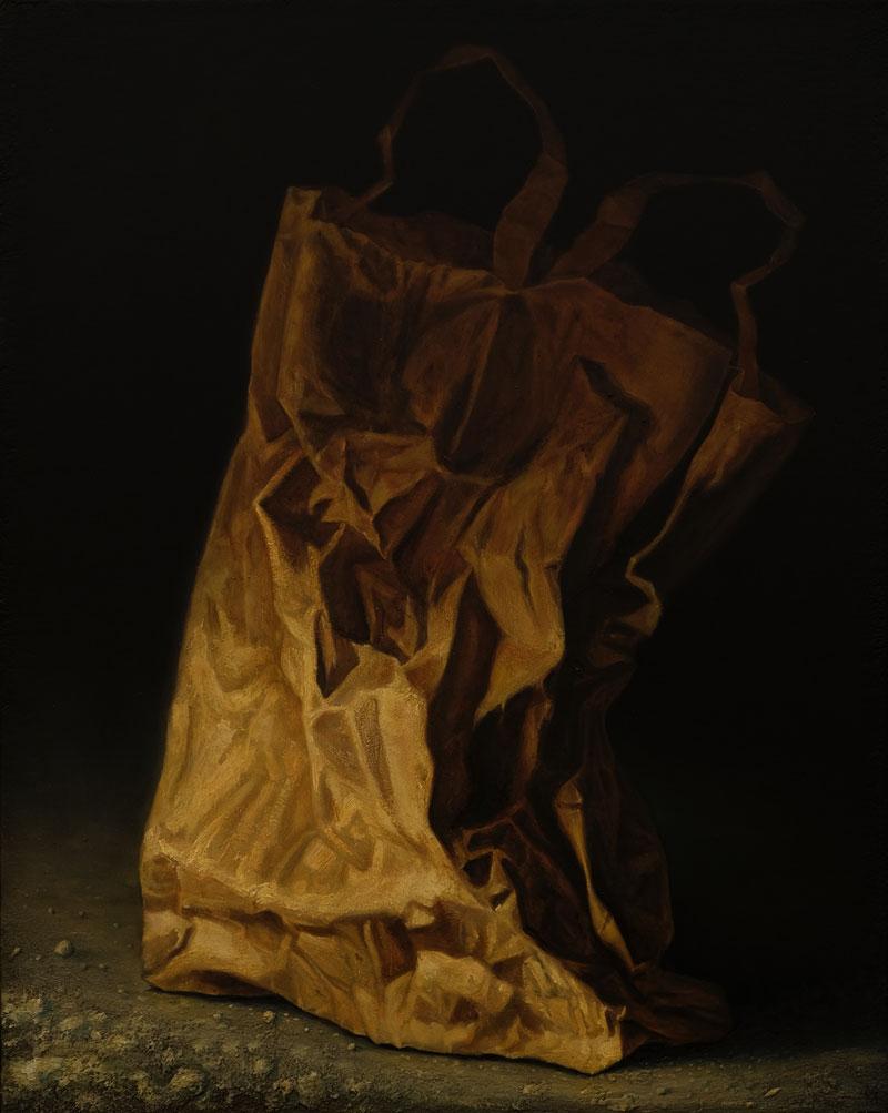 """Papiertüte"", Öl auf Holz, 49 cm x 40 cm, 2016"