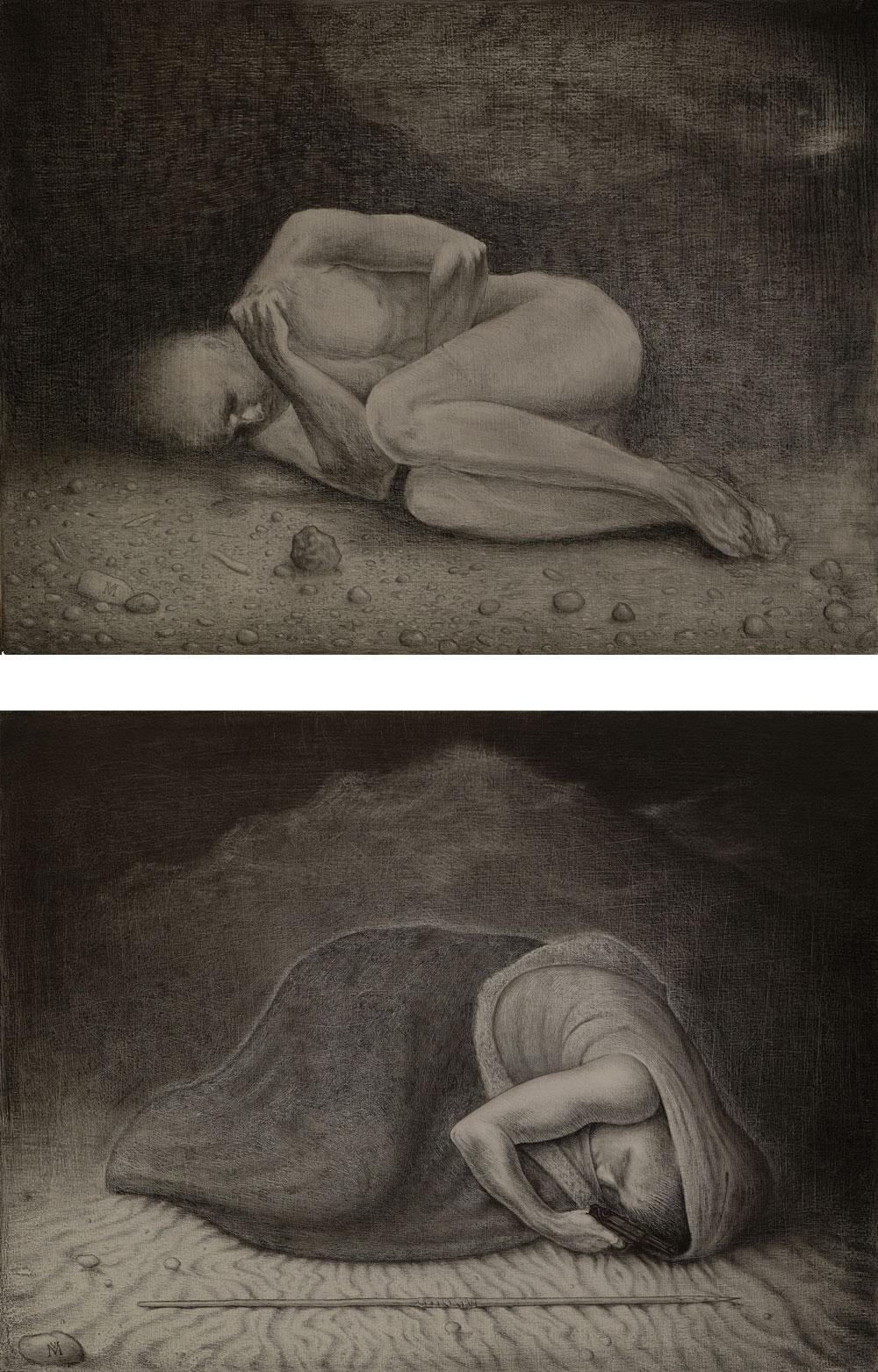 """""""Schlafender"""" Graphit auf Holz, 40 cm x 30 cm, 2016"""