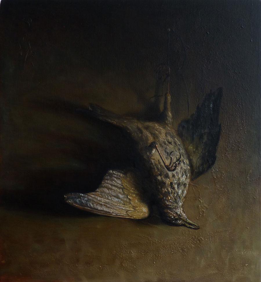 """""""Toter-Vogel"""", Öl auf Holz, 41 cm x 44,5 cm, 2015"""