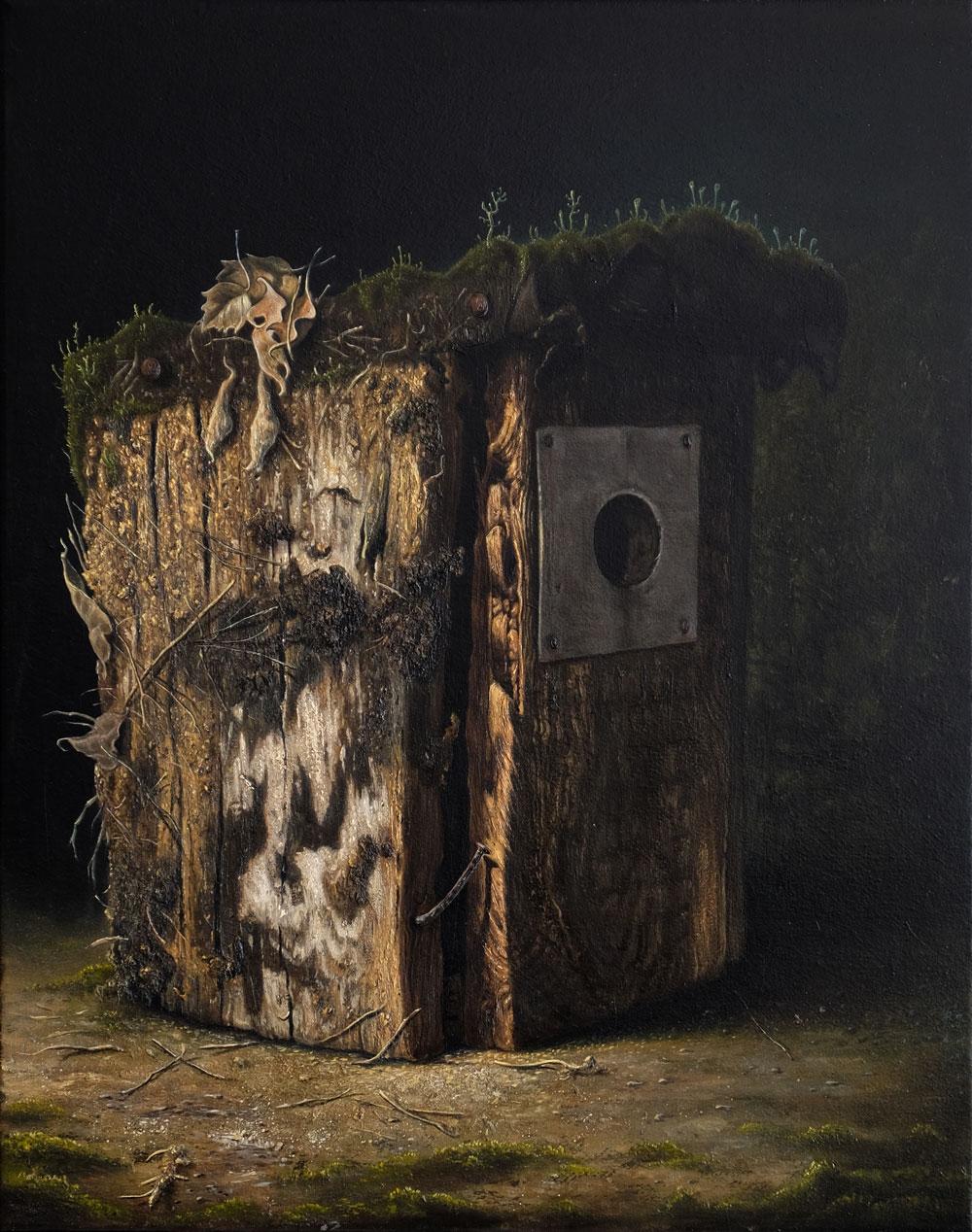 """""""Vogelhaus"""", Öl auf Leinwand, 30 cm x 40 cm, 2016"""