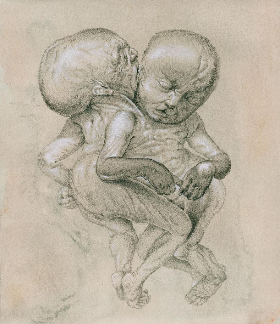 """""""Zwillinge"""", Bleistift-und-Aquarell-auf-Papier, 2015"""